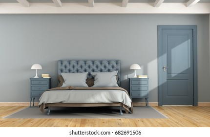 Blue master bedroom with double bed,nightstand and closed door - 3d rendering