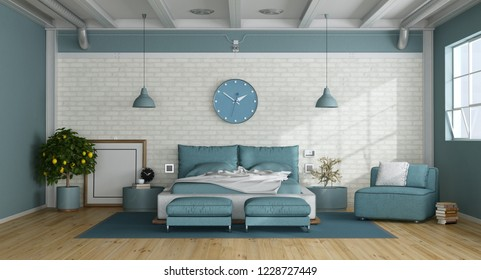 Blue master bedroom in a loft with double bed,armchair and white brick wall - 3d rendering