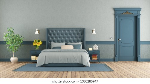 Blue master bedroom in retro style with double bed and closed door - 3d rendering