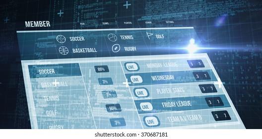 Blue matrix and codes against gambling app screen