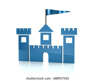 Blue medieval castle icon 3d illustration on whilte background