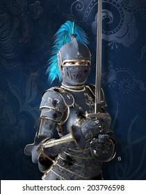 Blue medieval knight