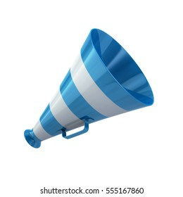 Blue megaphone icon 3d rendering on white background
