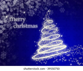 blue merry christmas greeting card