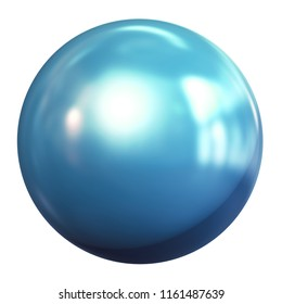 Blue metal ball isolated on white background, 3d render illustration