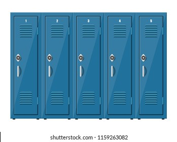 Blue metal cabinets. Lockers in school or gym with silver handles and locks. Safe box with doors, cupboard, compartment. illustration in flat style