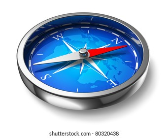 Blue metal compass isolated on white background