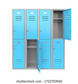 Blue metal locker with open doors. Two level compartment. 3d rendering illustration isolated on white background