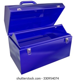 Blue metal open toolbox that is empty and ready to store tools for your projects or work
