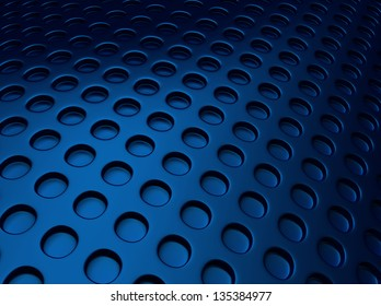 Blue metallic background with lot of perforated dots