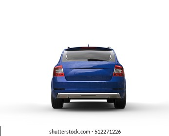 Blue metallic family car - back view - 3D Illustration