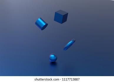 Blue metallic geometric shape form floating 3d rendering