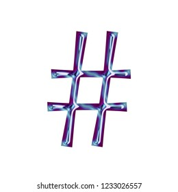 Blue metallic hashtag social media icon or pound sign symbol in a 3D illustration with a smooth shiny finish and purple beveled edge outline effect in a fun curly font on white with clipping path