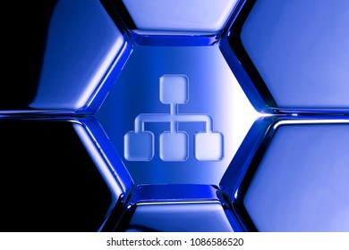 Blue Metallic Sitemap Icon in the Honeycomb Pattern. 3D Illustration of Blue Chart, Flowchart, Hierarchy, Navigation, Org, Organization Icon Set on Geometric Hexagon Background.