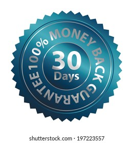 Blue Metallic Style 30 Days 100 Percent Money Back Guarantee Badge, Icon, Label or Sticker Isolated on White Background