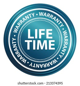 Blue Metallic Style Lifetime Warranty Icon, Badge, Label or Sticker for Product Warranty, Quality Control, Quality Assurance, Quality Management, CRM or Customer Satisfaction Concept Isolated on White