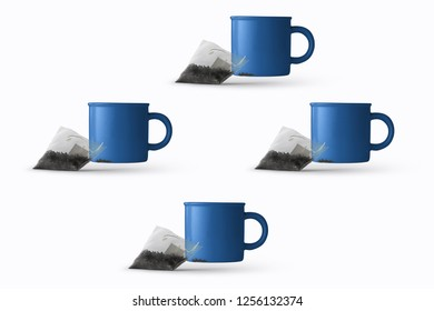 blue metallic tea cup and tea bag with white background 3d rendering 3d illustration