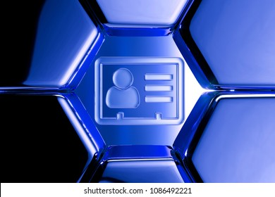 Blue Metallic Vcard Icon in the Honeycomb Pattern. 3D Illustration of Blue v Card, v Card, Vcard, Vcard File, Vcard File Icon Set on Geometric Hexagon Background.