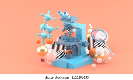 A blue microscope among colorful balls on a pink background.-3d rendering.