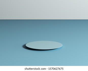 Blue Minimal Stand, 3D Rendering, 3D Illustration