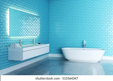 Blue minimalist bathroom design 3D render