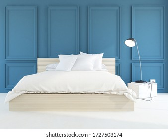 Blue minimalist bedroom interior with double bed on a wooden floor, decor on a large wall, white landscape in window. Home nordic interior. 3D illustration