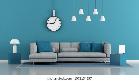 Blue minimalist living room with gray sofa - 3d rendering