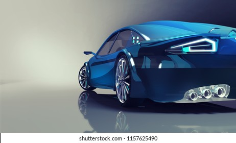 blue modern car back closeup on illuminated background, 3D rendering, car design concept of my own