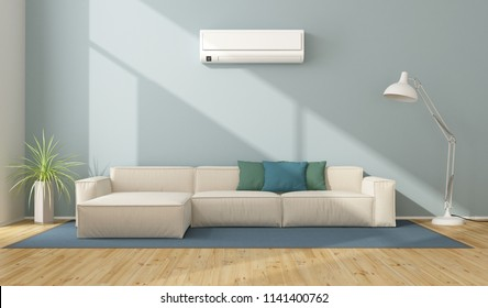 Blue modern living room with white sofa and air conditioner - 3d rendering