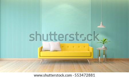 Blue Modern Room Interior Yellow Sofa Stock Illustration Royalty