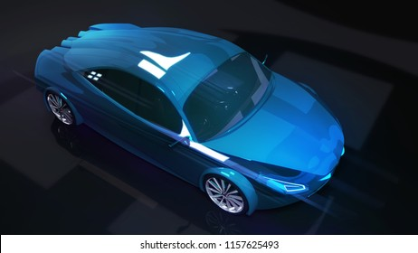 blue modern speed car on dark background, 3D rendering, car design concept of my own