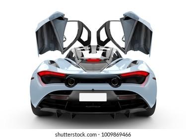Blue modern sport car with oper doors: 3D illustration