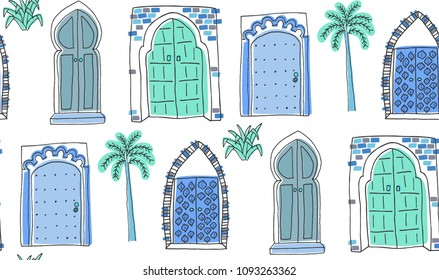 Blue Moroccan doors doodle seamless pattern on white background