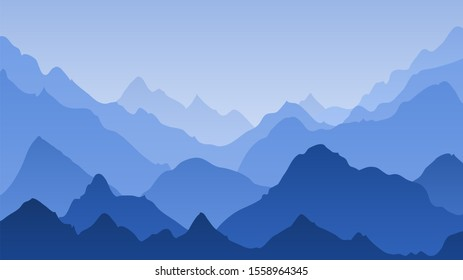 Blue mountain landscape. Mountains misty silhouettes, panoramic hills. Majestic peak ranges horizon, hiking background and abstract smoky tranquil climbing art panorama