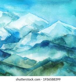 Blue mountains, Watercolor landscape, nature painting