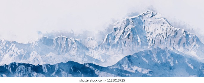 Blue mountains in winter with snow on white background,  digital watercolor painting