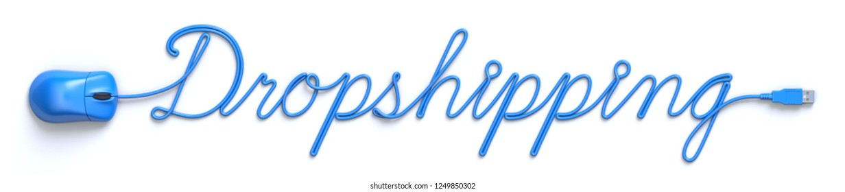 Blue mouse and cable in the shape of dropshipping word - 3D illustration