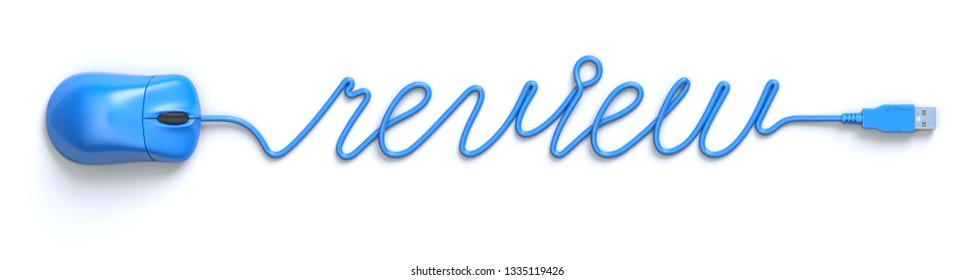 Blue mouse and cable in the shape of review word - 3D illustration