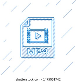 Blue MP4 file document icon. Download mp4 button line icon isolated on white background. MP4 file symbol