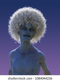A blue mutant man with a big white afro - 3D render.