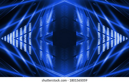 Blue neon background. Abstract blue dark background with lines and rays. Light tunnel. Symmetrical reflection.