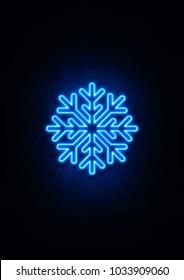Blue Neon Snowflake Sign