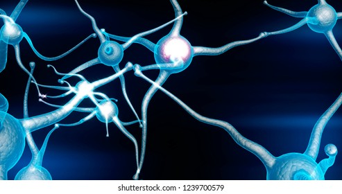 Blue Neuron synapse network with red electric impulse activity 3d render