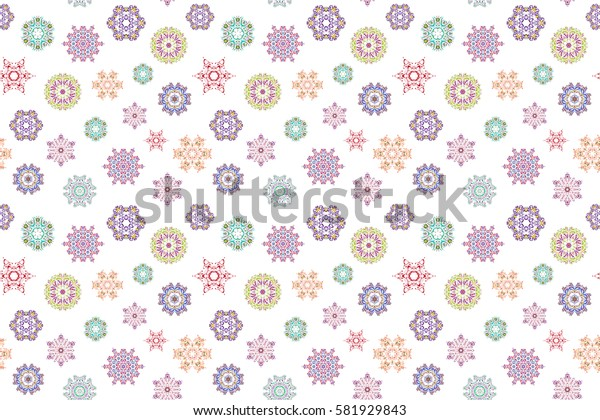 Blue, neutral and pink snowflakes on white background. Abstract minimal seamless pattern background.