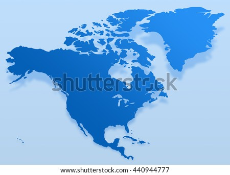 Blue North America Map North America Stock Illustration 440944777