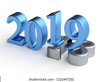 Blue numbers of New Year 2019 over grey old 2018. 3d render