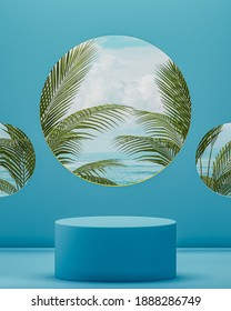 Blue ocean podium stage with blue sky background for product placement 3d render