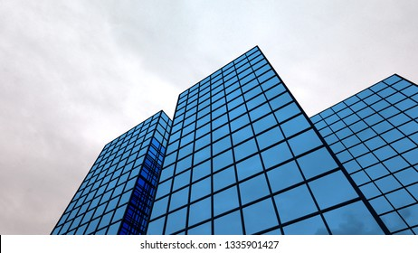 blue office finance building glass windows 3D illustration