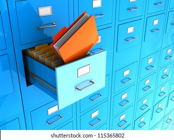 Blue office wall of files with important information in front