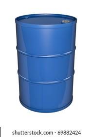 Blue oil barrel. 3D rendered image.